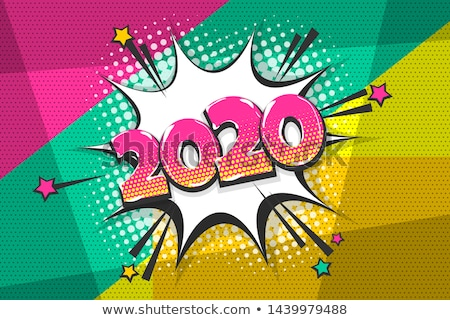 New Year 2020 pop art card in funny comic style Stock photo © cienpies