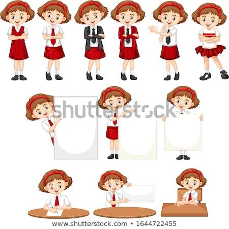 Set Mädchen Schuluniform unterschiedlich Sachen Illustration Stock foto © bluering