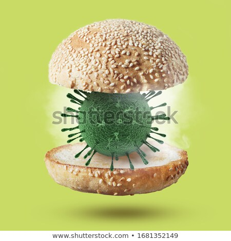 Burger bun with 3D model of Coronavirus molecule. Stock photo © artjazz