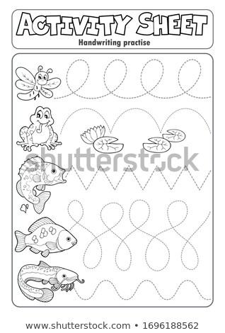 Atividade folha letra peixe arte educação Foto stock © clairev