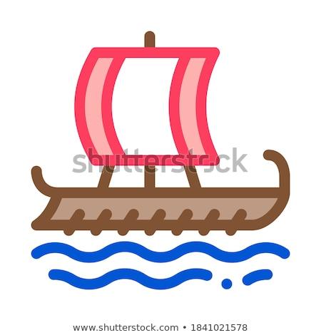 Grieks handelaar schip icon vector schets Stockfoto © pikepicture