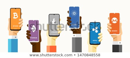 Smartphones with a lot of cryptocurrencies. Bitcoin, litecoin, ethereum, cardano, ripple and monero  Stock photo © karetniy