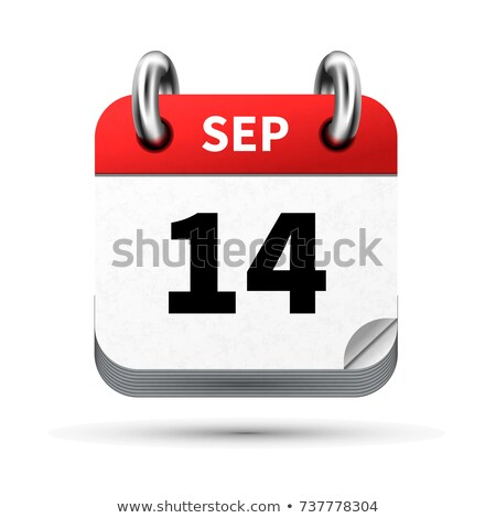 Bright realistic icon of calendar with 14 september date isolated on white Stock photo © evgeny89