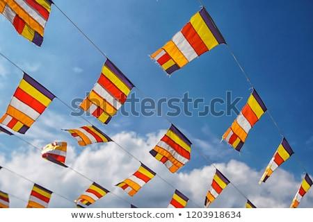 Buddhista zászlók égbolt ima mantra írott Stock fotó © dmitry_rukhlenko