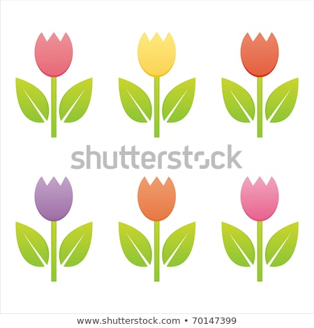 Stock photo: glossy tulip icons