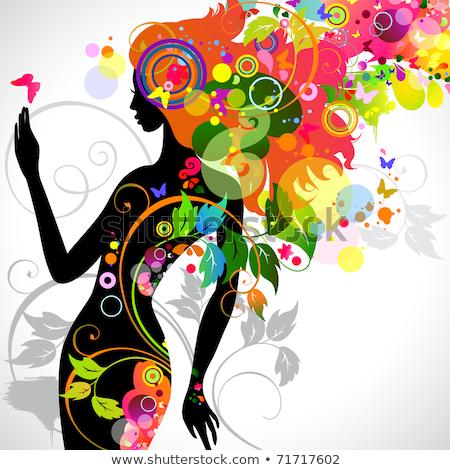 femme · chiffre · silhouette · décoratif · fleur · texture - photo stock © hermione
