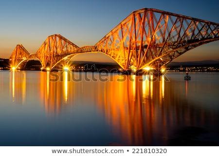 рельс · моста · закат · Шотландии · дороги · здании - Сток-фото © craigpj