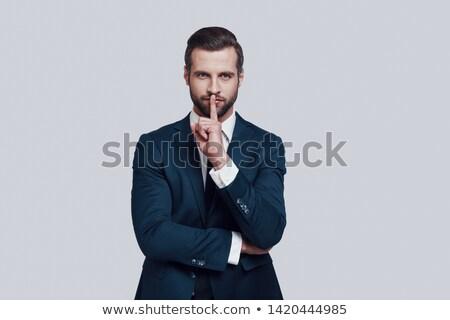 бизнесмен · лента · рот · изолированный · белый · бизнеса - Сток-фото © leeser