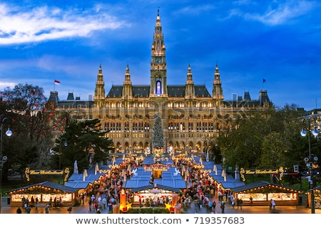Karácsony piac Bécs Ausztria háttér ajándék Stock fotó © phbcz
