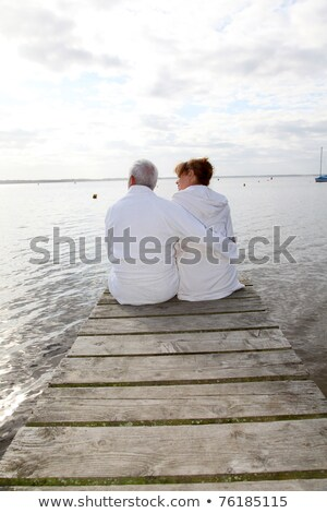 Stock photo: portrait of a couple on a pontoon