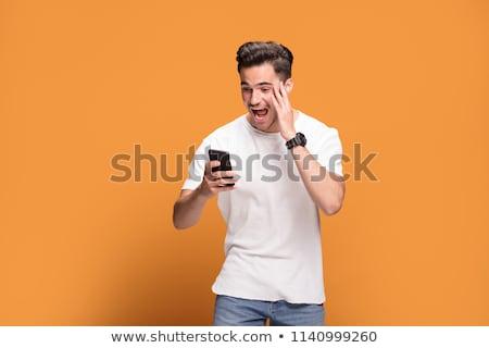 adam · telefon · sürpriz · çalışmak · gözlük - stok fotoğraf © photography33