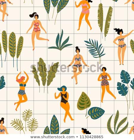 vrouw · groen · blad · tropisch · strand · mooie · vrouw · water · sexy - stockfoto © dolgachov