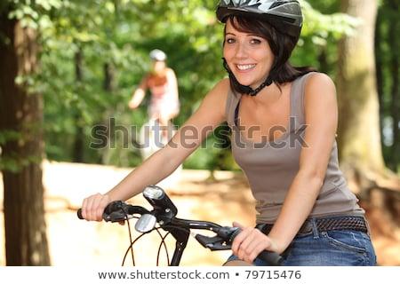 два девочек верховая езда велосипедах лес женщины Сток-фото © photography33