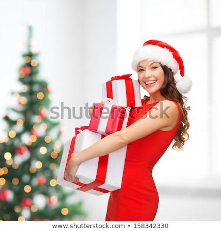 pretty latino girl in red dress Stock photo © feedough