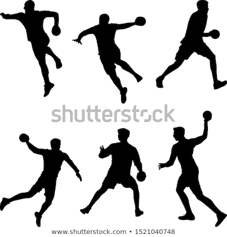 Handball silhouettes set stock photo © Kaludov