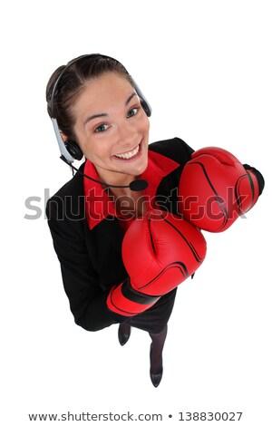 熱狂的な 女性 ヘッド ボクシンググローブ ビジネス オフィス ストックフォト © photography33