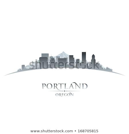 Portland Skyline At Sunrise Illustration Сток-фото © YurkaImmortal