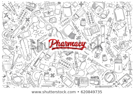 Preservativo esboço conjunto seguro medicina Foto stock © Hermione