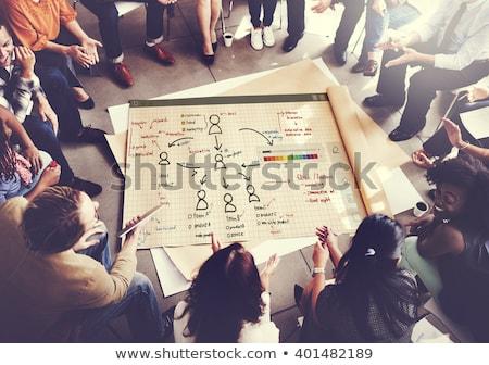 homem · de · negócios · desenhar · traçar · marcador · organização · fluxograma - foto stock © photography33