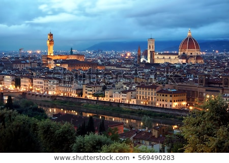 FLORENCE nuit vue ville architecture belle Photo stock © wjarek