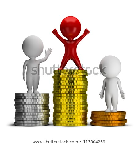 Stock fotó: 3d Small People - Thoughts And Income
