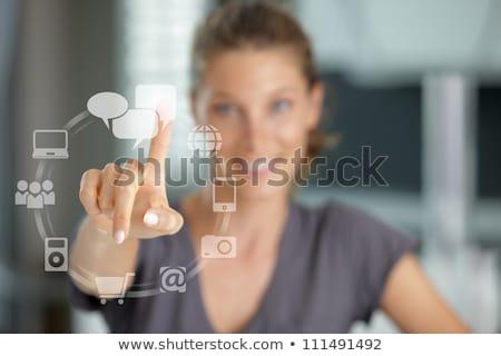 touching button social network future interface stock photo © adam121