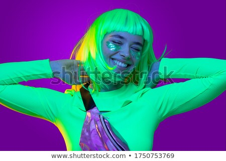 Donna indossare parrucca discoteca palla studio Foto d'archivio © photography33