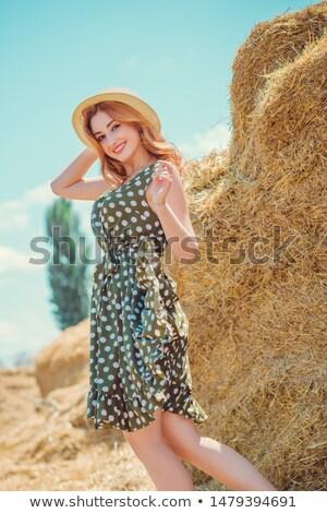 Vintage rétro femme élégant à pois robe Photo stock © gromovataya
