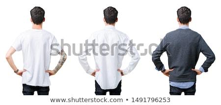Man permanente achteruit geïsoleerd witte sexy Stockfoto © ra2studio