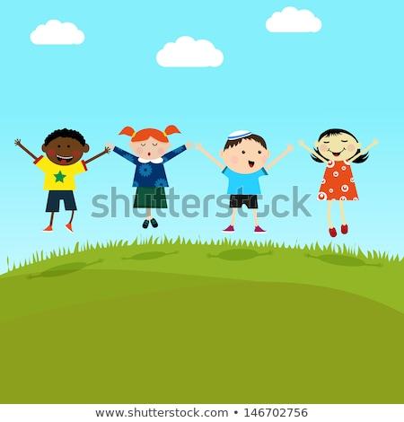 Multikulturális gyerekek ugrik domb lány szeretet Stock fotó © creative_stock