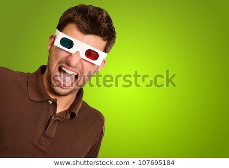 komik · adam · 3d · gözlük · izlerken · film · sinema - stok fotoğraf © stevanovicigor