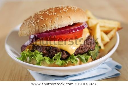 ビッグ チーズバーガー フライド ジャガイモ 浅い フィールド ストックフォト © moses