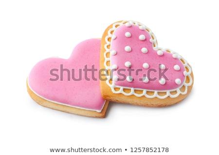 сердце Cookie пряничный покрытый молоко Сток-фото © red2000_tk