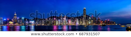 Hong Kong Harbor at Night from Kowloon Ferry Stock photo © billperry
