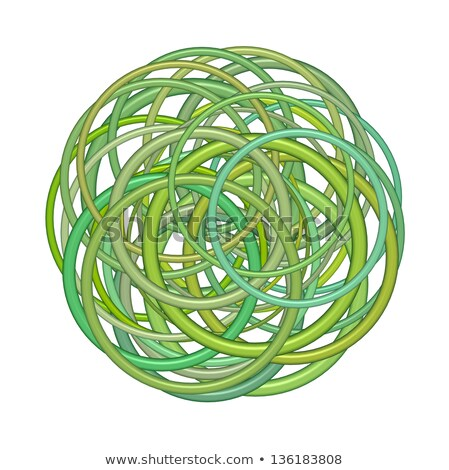 abstract round glossy torus shape in mixed green on white Stock photo © Melvin07