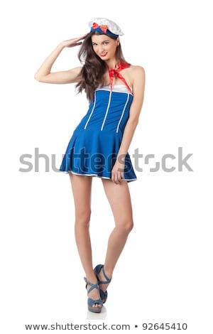 Young beautiful sailor woman salute Stock photo © Aikon