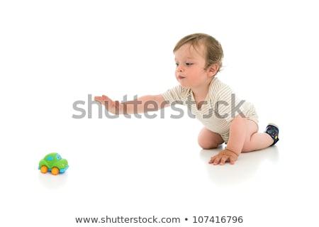 Imádnivaló egyéves fiú játszik játék izolált Stock fotó © dacasdo
