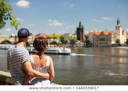 Prague architecture near the Vltava river Stock photo © CaptureLight