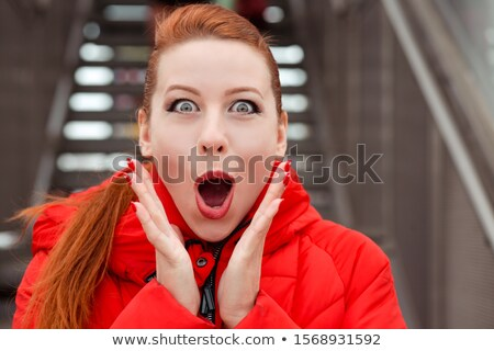 Amazement. Amazed Woman holding Hands to Face in Surprise. Positive Emotions Stock photo © gromovataya