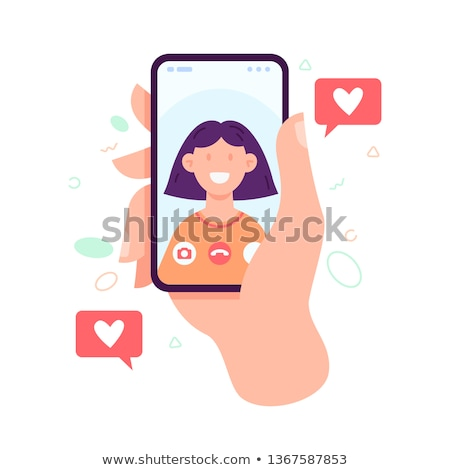 young girl with touch screen cell phone stock photo © hofmeester