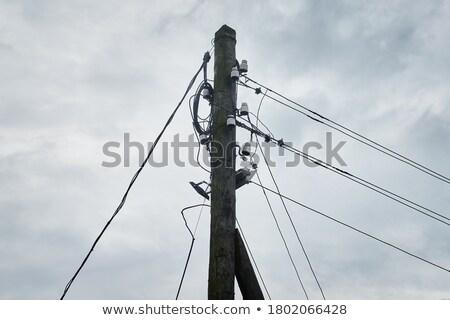 elektrische · lijn · houten · paal · top · detail - stockfoto © lunamarina