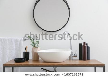 раковина · древесины · свет · дизайна · домой · стекла - Сток-фото © reflex_safak