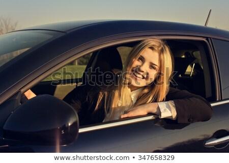 Sarışın genç kadın sürücü spor araba güzel araba Stok fotoğraf © dashapetrenko