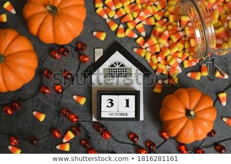 Gelukkig halloween kaart oranje heldere kleurrijk Stockfoto © bharat
