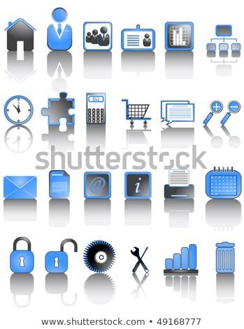 Calculator Icon on Blue Puzzle. Stock photo © tashatuvango