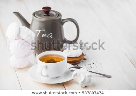 çay · fincanı · sıcak · çay · peçete · ahşap · masa · gıda - stok fotoğraf © inxti