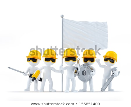 Group of construction workers/builders with tools and blank flag Stock photo © Kirill_M