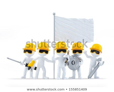 inşaat · işçiler · ayakta · yalıtılmış · beyaz - stok fotoğraf © kirill_m