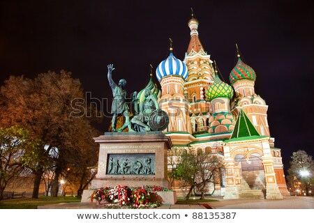 monument to minin and pozharsky at night in moscow stock photo © mikko