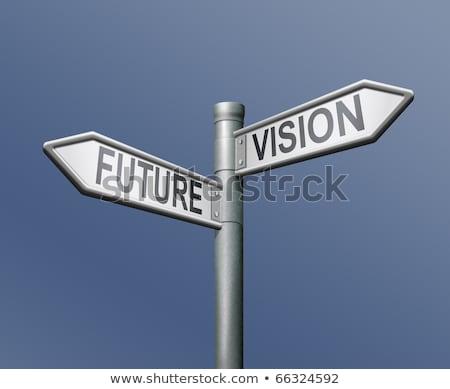 Photo stock: Vision · avenir · panneau · vecteur · route · succès